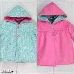 Girls Jacket, reversible, with hoodie - Pink or blue with small flowers